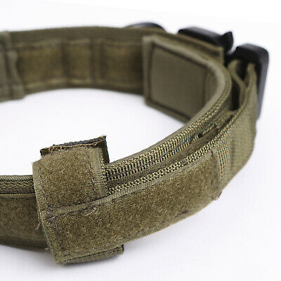 HEAVY DUTY K9 Military Dog Collar Leash Handle Medium Large metal Buckle 10