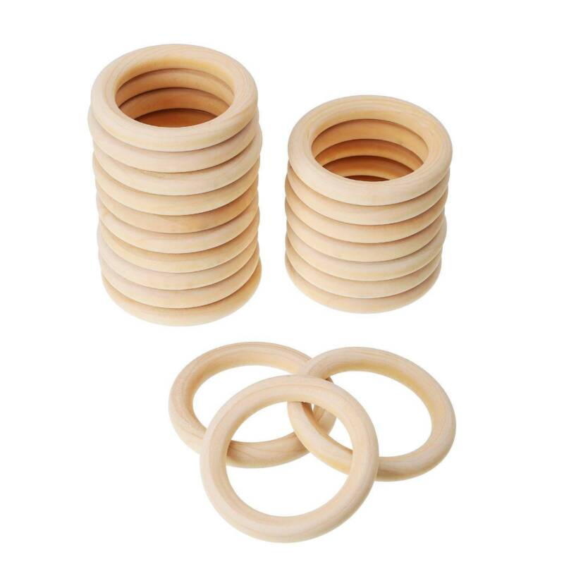 10/20Pcs Wood Rings Round 55-65mm Unfinished Wooden Rings DIY Teething Ring OZ 2