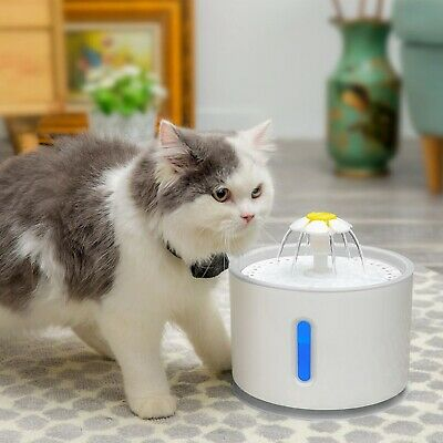 2.4L Automatic Pet Cat Water Fountain Drinking Dispenser LED Light Ultra Silent 10