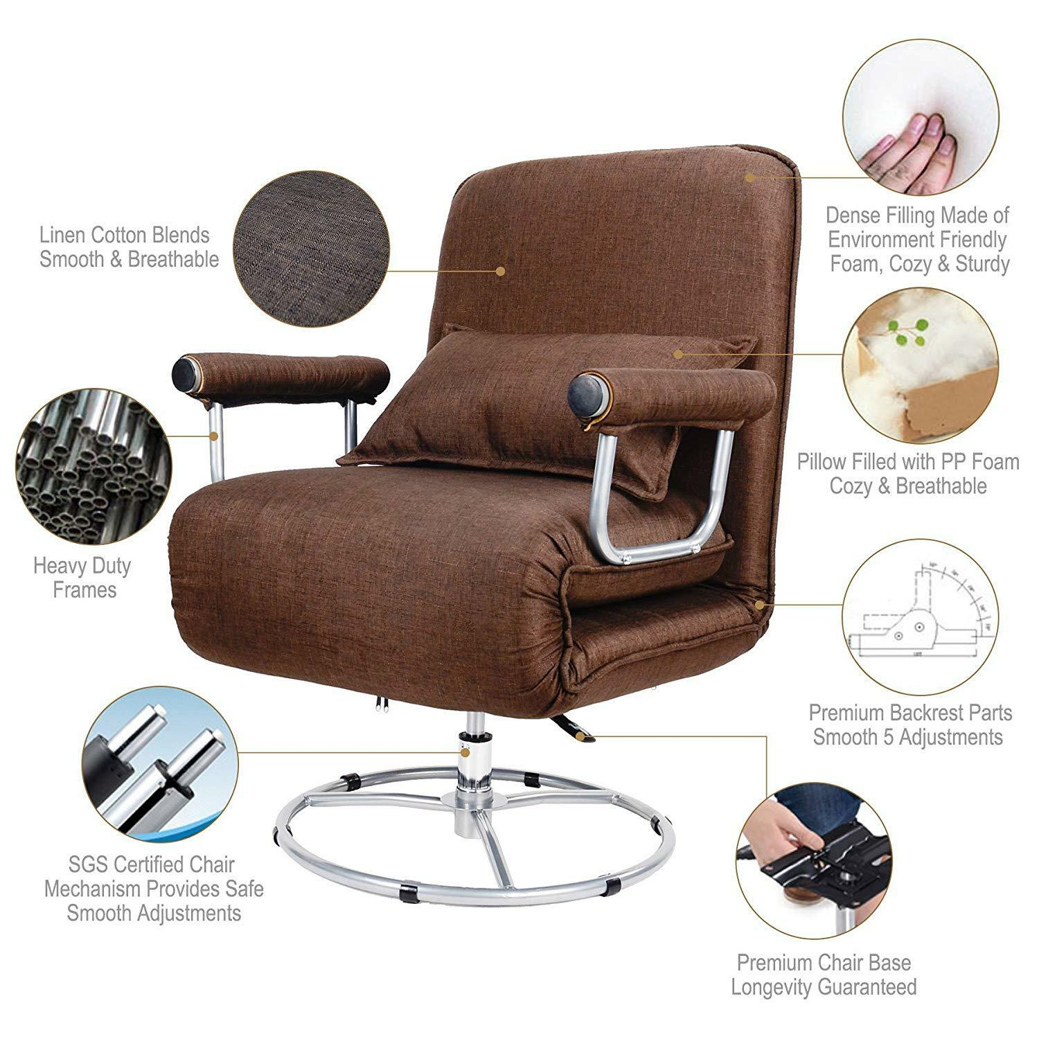 5 Positions Folding Lounge Chair Sofa Bed Convertible