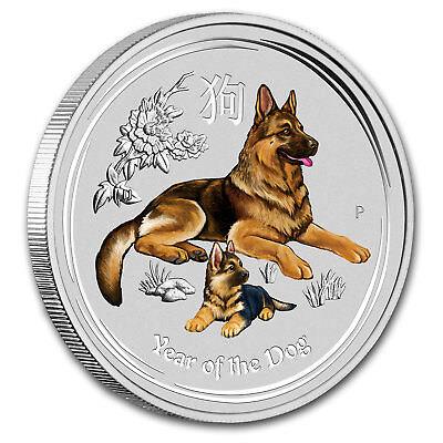 2018 Australia 1/2 oz Silver Lunar Dog BU (Colorized) - SKU#161441 2