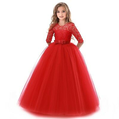 Flower Girl Dress Princess Party Wedding Bridesmaid Kid Formal Gown Long Dresses 2