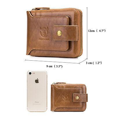 Mens Womens Genuine Leather Wallet RFID Blocking Zipper Bifold Credit Card Purse 4