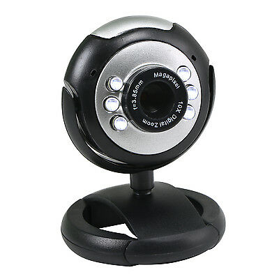 TRIXES USB Webcam & Microphone with LEDs for PC Laptop Windows Mac Skype