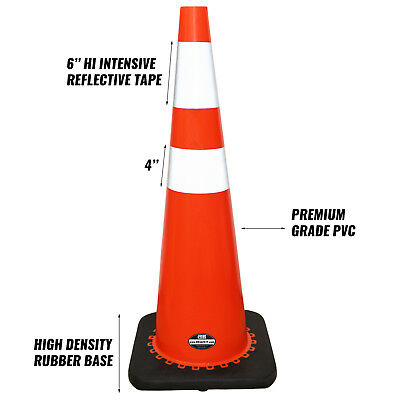 "36"" Orange Traffic Two Tape Safety Parking Driveway Cones Safety Cones (6/pack) 2"