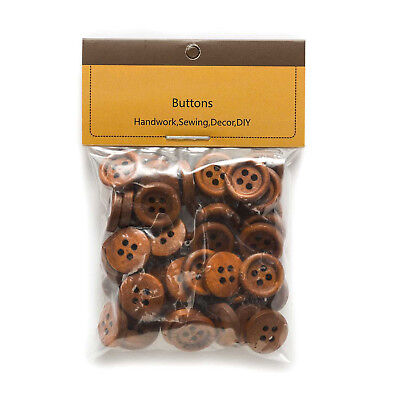 50pcs 4 hole Wood Buttons for Sewing Scrapbook Clothing Crafts Gift 15mm 6