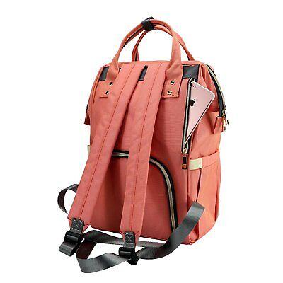 LAND Waterproof Mommy Baby Diaper Bag Nappy Backpack + Stroller Hooks 12