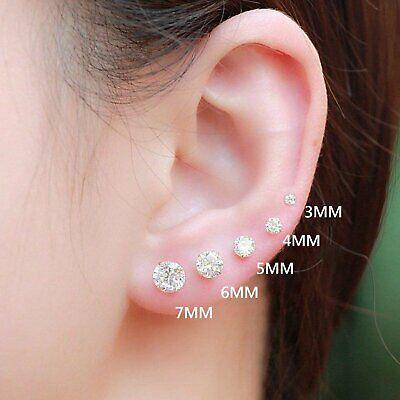 Women Men Genuine 925 Solid Sterling Silver Cubic Zirconia Round Stud Earrings 4