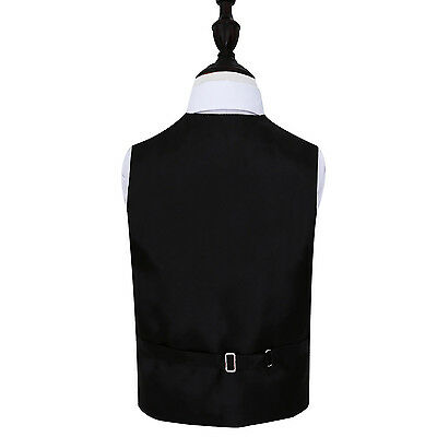 New Dqt Greek Key Boy's Wedding Waistcoat - Black
