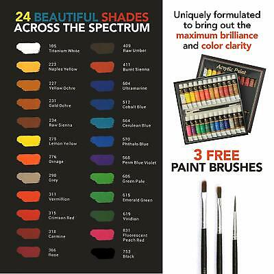 Acrylic Paint Set Tube 24 x 12ml for Artists.Perfect for Canvas,Wood,Ceramic 3