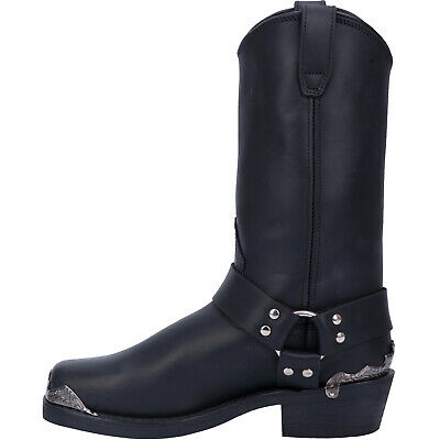 Dingo Mens Rev Up Western Cowboy Boots Leather Studded Harness Snoot Toe Black