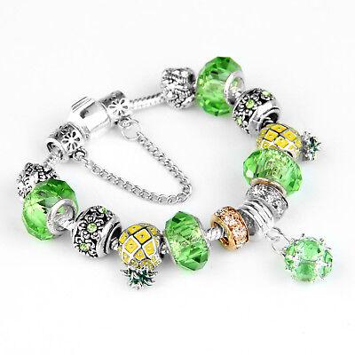 Women's European Charm Bracelet Silver Plated Crystal Charms Cuff Bangle 20CM 11