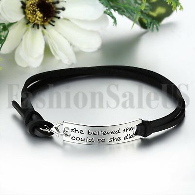 Women's She Believed She Could So She Did Leather Inspirational Bangle Bracelet 4