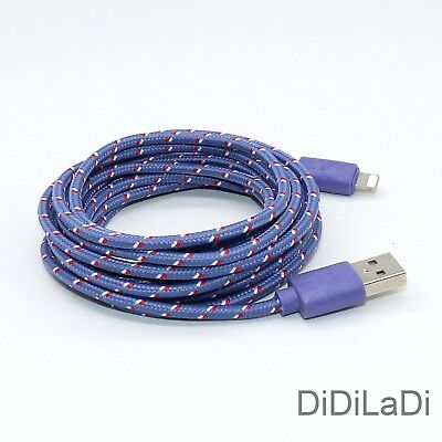 1/2/3M Braided Lightning USB Charger Data Sync Cable For iPhone 6 7 8 Plus X XR 7
