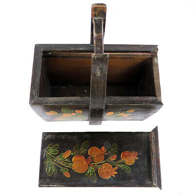 Small Antique Chinese Painted Food Utility Box, Black with Colorful Paintings 11