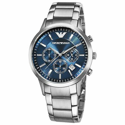 New Genuine Emporio Armani Mens Ar2448 Watch Blue Dial Stainless Steel Uk 4