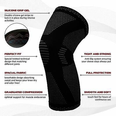 2pcs Knee Sleeve Compression Brace Support For Sport Joint Pain Arthritis Relief 5