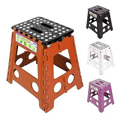 Plastic Multi Purpose Fold Step Stool Fit Home Kitchen Foldable Carry Storage 3
