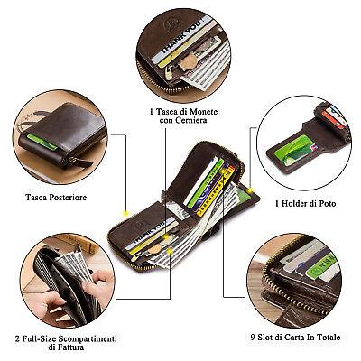 Mens Womens Genuine Leather Wallet RFID Blocking Zipper Bifold Credit Card Purse 8
