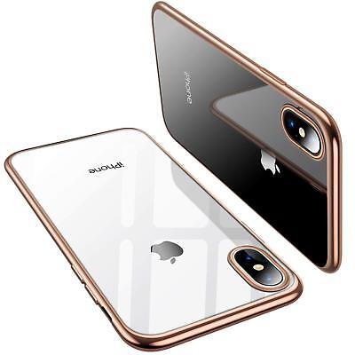 Coque iPhone X XS Max XR 2018 Transparente Gel Silicone Souple Cadre Brillante 5