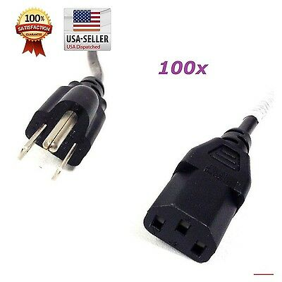 Lot of 100PCS 4ft Computer PC Monitor 3 Prong Power Cord Cable IEC320 COMPUTER