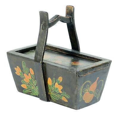 Small Antique Chinese Painted Food Utility Box, Black with Colorful Paintings 2