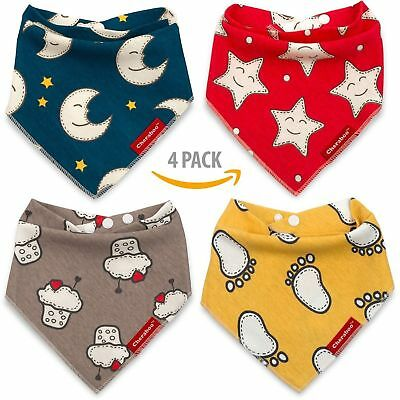 Baby Bibs Bandana Drool Bib 4 Pack by Cheraboo Gift Set Reversible & Soft 2