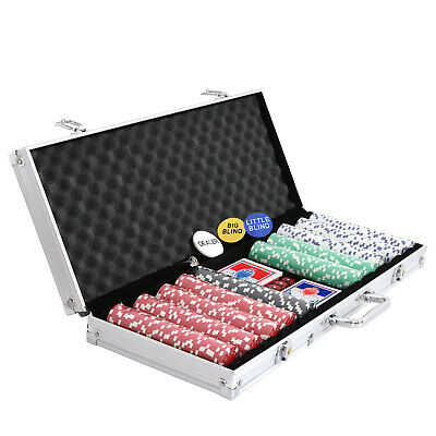 500 Chips Poker Chip Set 11.5 Gram Holdem Cards Game W/Aluminum Case & Dices 10