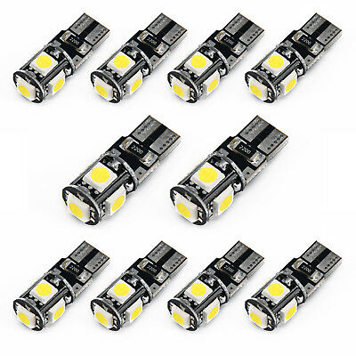 10x 6500k White Canbus Error Free Car T10 W5w 168 2825 Led5 Smd Wedge Light Bulb 3
