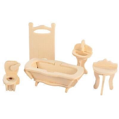 Mini 3D Wooden Puzzle DIY 34 Pcs Miniature Dollhouse Furniture Models For Doll 9