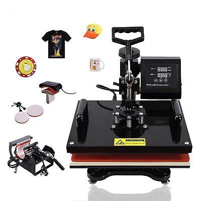 "5 IN 1 15""x15"" Combo T-Shirt Heat Press Machine Digital Transfer Sublimation Mug 2"