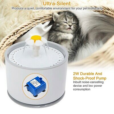 2.4L Automatic Pet Cat Water Fountain Drinking Dispenser LED Light Ultra Silent 4