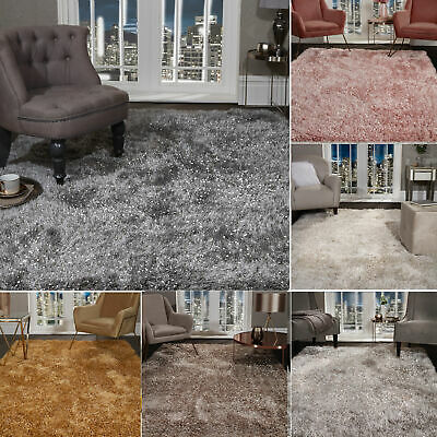 Shaggy Rug SHIMMER SPARKLE GLITTER 5.5cm Thick Soft Pile Large Living Room Rugs 2
