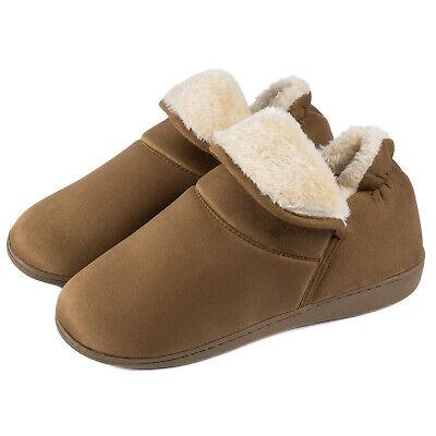 Men's Plush Warm Ankle Bootie Slippers Fuzzy Memory Foam Winter House Shoes 10