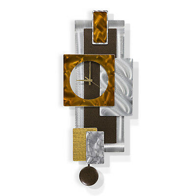 GEOMETRIC PENDULUM CLOCK - Modern Metal Wall Art DESIGNER Decor by Jon Allen 2