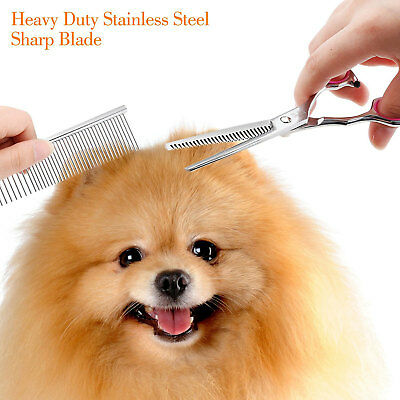 Pet Dog Grooming Scissors Stainless Straight Curved Thinning Shears Trimmer Kits 11