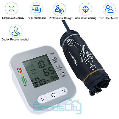 Digital Upper Arm Blood Pressure Monitor LCD Screen Heart Rate w/ Voice Talking 4