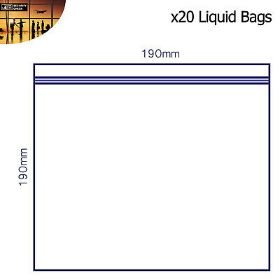 20 x Clear AIRPORT SECURITY LIQUID BAGS Plastic Seal HOLIDAY Travel HAND LUGGAGE 4