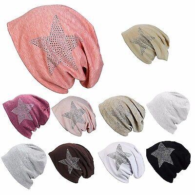 Glamxx24 Damen Herren Unisex Long Beanie Mütze Stern Strass Applikation Hut Hat