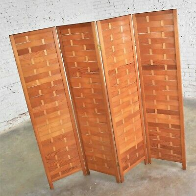 Mid Century Woven Wood Folding Screen 4 Panel Room Divider in Pine 12