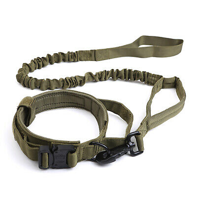 HEAVY DUTY K9 Military Dog Collar Leash Handle Medium Large metal Buckle 6