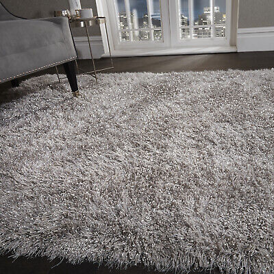 5.5cm Silver Grey Large SHAGGY Floor RUG Soft SPARKLE Shimmer Glitter Thick Pile 4