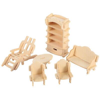 Mini 3D Wooden Puzzle DIY 34 Pcs Miniature Dollhouse Furniture Models For Doll 11