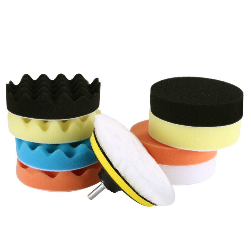 11Pcs 125mm Sponge Buffing Polishing Pad Kit for Car Polisher with Drill Adapter 2