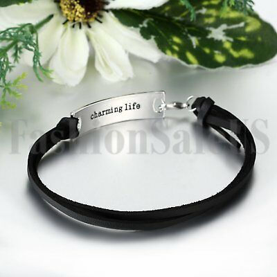 Women's She Believed She Could So She Did Leather Inspirational Bangle Bracelet 2