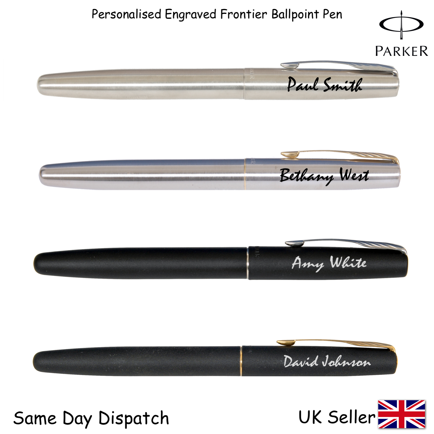 PERSONALISED ENGRAVED PARKER FRONTIER STAINLESS STEEL FOUNTAIN PEN -BLACK,Gold 3