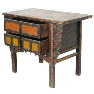 """Antique Chinese Asian 43 """" Wide 3 Drawer Table Coffer Cabinet Vanity 7"""