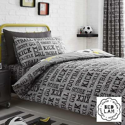 Bedlam Children's Kids Reversible Football Duvet Cover Set Bedroom Range Grey