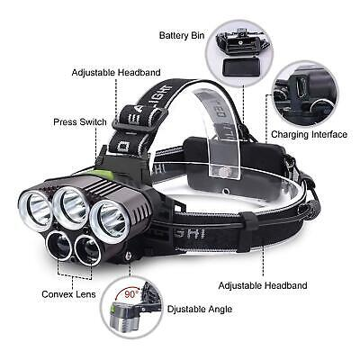 250000LM 5X T6 LED Headlamp Rechargeable Head Light Flashlight Torch Lamp USA 3
