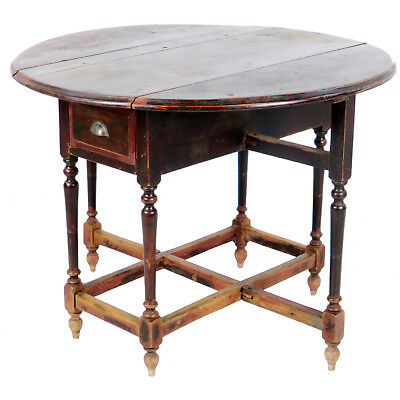 Antique Asian Chinese 42 inch Round Drop Leaf Gate Leg Table 3